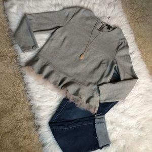 J crew gorgeous gray peplum sweatshirt size large